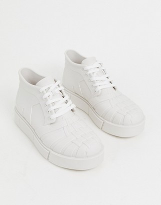 Melissa hi top chunky trainer in white