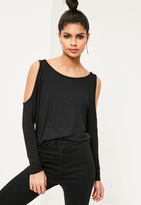 Missguided Cold Shoulder Tunic Top Black