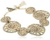 "lonna & lilly Fancy Filigree"" Worn Gold-Tone Filigree Coin Stretch Bracelet"