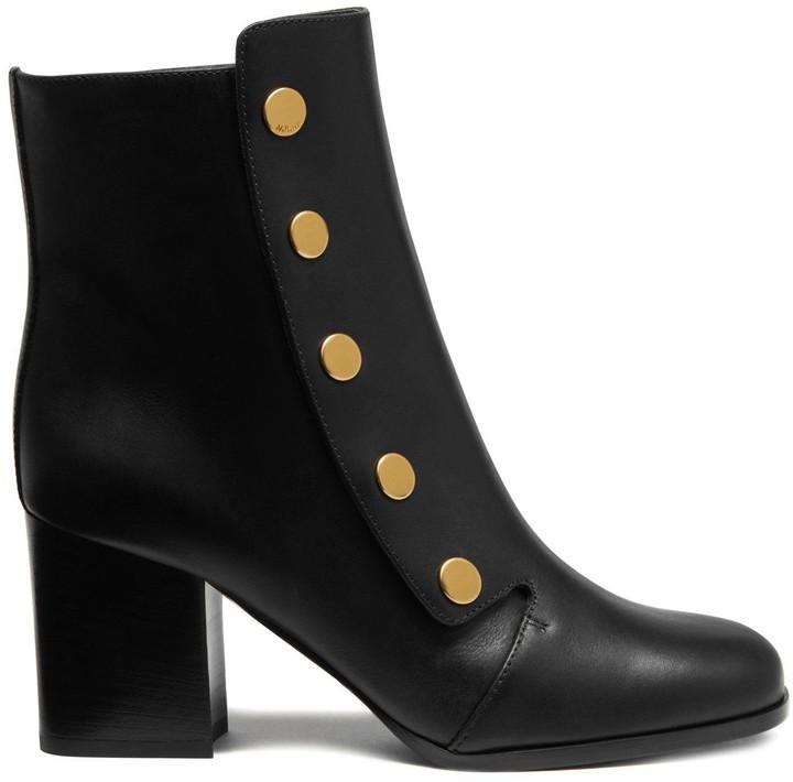 Mulberry Marylebone Mid Heel Bootie Black Smooth Calf