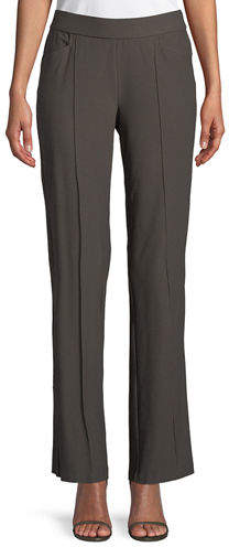 Petite Washable Stretch-Crepe Slim Boot-Cut Seam Pants
