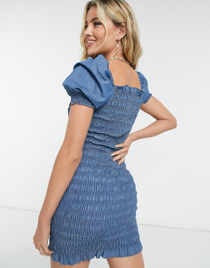 Thumbnail for your product : New Look shirred puff sleeve mini dress in blue denim