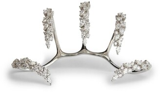 YEPREM White Gold and Diamond Y-Conic Four-Finger Ring