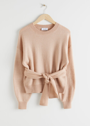 And other stories Belted Wool Blend Knit Sweater