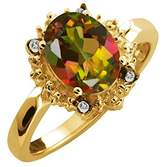 Gem Stone King 2.32 Ct Oval Mango Mystic Topaz and White Topaz 14k Yellow Gold Ring
