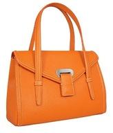 Orange Embossed Leather Satchel Bag