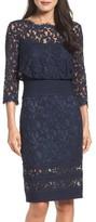 Tadashi Shoji Women's Pleat Waist Lace Blouson Dress