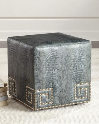 Massoud Chantal Leather Ottoman Blue
