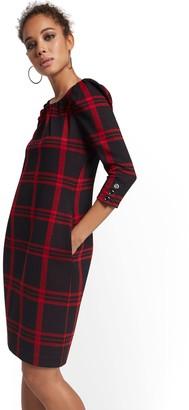 New York & Co. Plaid Puff-Sleeve Shift Dress - Superflex