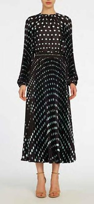 ML Monique Lhuillier Long Sleeve Polka Dotted Top and Midi Skirt