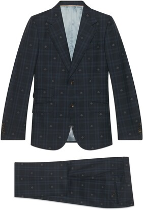 Gucci Fitted bee check wool suit