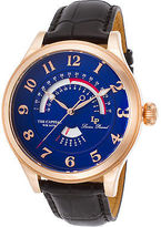 Lucien Piccard 40050-RG-03 Men's The Capital Black Genuine Leather Blue Dial
