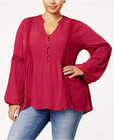 Eyeshadow Trendy Plus Size Peasant Blouse