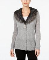 JM Collection Petite Faux Fur-Trim Cardigan, Only at Macy's