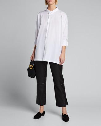 eskandar Poplin Double-Collar Wide A-Line Shirt