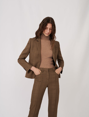 Maje Checked fitted suit jacket