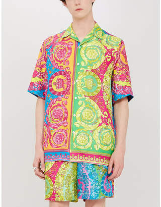 Versace Baroque-print relaxed-fit silk-twill shirt