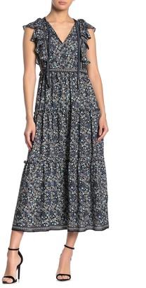 Max Studio Flutter Sleeve Tiered Midi Dress
