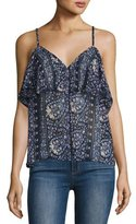 Paige Henna Button-Front Camisole Top, Dark Ink Blue
