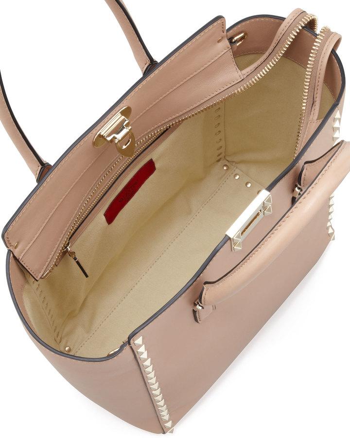 Valentino Rockstud Double-Handle Shoulder Tote Bag, Tan