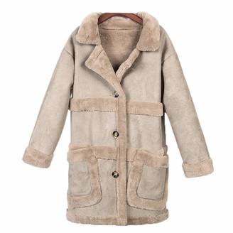 Ty.Olk Sheepskin Coats Women Thick Suede Jackets Overcoats Winter Lambs Wool Long Outwear Camel L