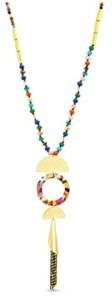 Catherine Malandrino Lucite Beaded Pendant Tassel Necklace in Yellow Gold-Tone Alloy