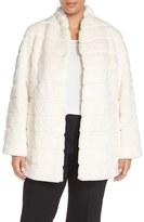 Ellen Tracy Plus Size Women's Grooved Faux Fur Coat
