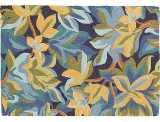 Company C Avalon Floral Hand Hooked Wool Indigo Area Rug CompanyC Rug Size: Rectangle 2' x 3'