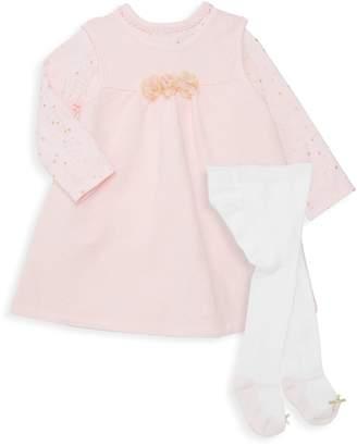 Little Me Baby Girl's 3-Piece Cotton-Blend Dress, Bodysuit & Tights Set