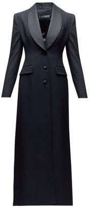 Dolce & Gabbana Satin-lapel Single-breasted Wool-blend Coat - Black