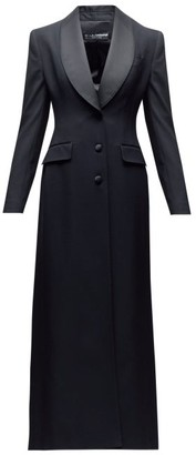 Dolce & Gabbana Satin-lapel Single-breasted Wool-blend Coat - Womens - Black