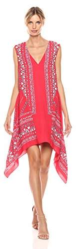 BCBGMAXAZRIA Azria Women's Alena Woven Sleeveless Scarf Printed Dress