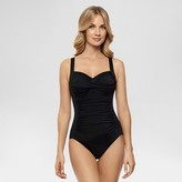 Dreamsuit by Miracle Brands Women's Slimming Control Shirred One Piece Swimsuit Black - Dreamsuit