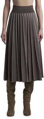 Agnona Knife-Pleated Midi Skirt