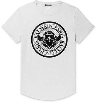 Balmain Slim-Fit Logo-Flocked Melange Cotton-Jersey T-Shirt