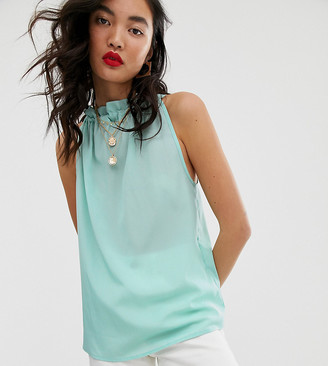 NA-KD ruched neck sleeveless top in ice blue