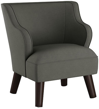 One Kings Lane Kira Kids' Accent Chair - Charcoal Linen - frame, espresso; upholstery, charcoal