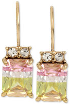 Betsey Johnson Gold-Tone Faceted Color Cubic Zirconia Drop Earrings
