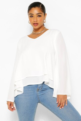 boohoo Plus Double Layer V Neck Swing Blouse