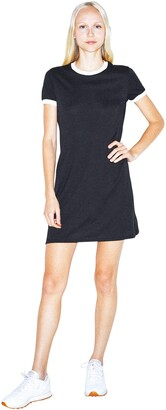 American Apparel Women's 50/50 Ringer Short Sleeve T-Shirt Dress