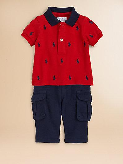 Ralph Lauren Infant's Two-Piece Mesh Polo Shirt & Fleece Pants Set