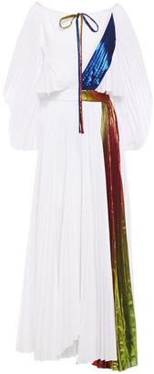Rosie Assoulin Pleated Cutout Metallic-trimmed Poplin Maxi Dress