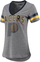 G Iii Women's G-III 4Her by Carl Banks Gray/Navy Indiana Pacers Walk Off Crystal Applique Logo V-Neck T-Shirt