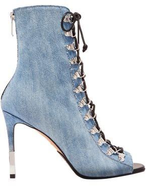 Balmain Lace-up Denim Ankle Boots
