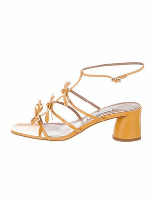 Tabitha Simmons Patent Leather Bow Accents Sandals Yellow