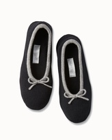 Soma Intimates Drawcord Cashmere Slippers Black/Heather Grey