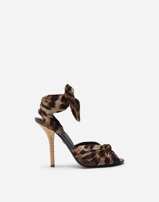 Dolce & Gabbana Twill Sandals With Leopard Print And Heel In Wicker