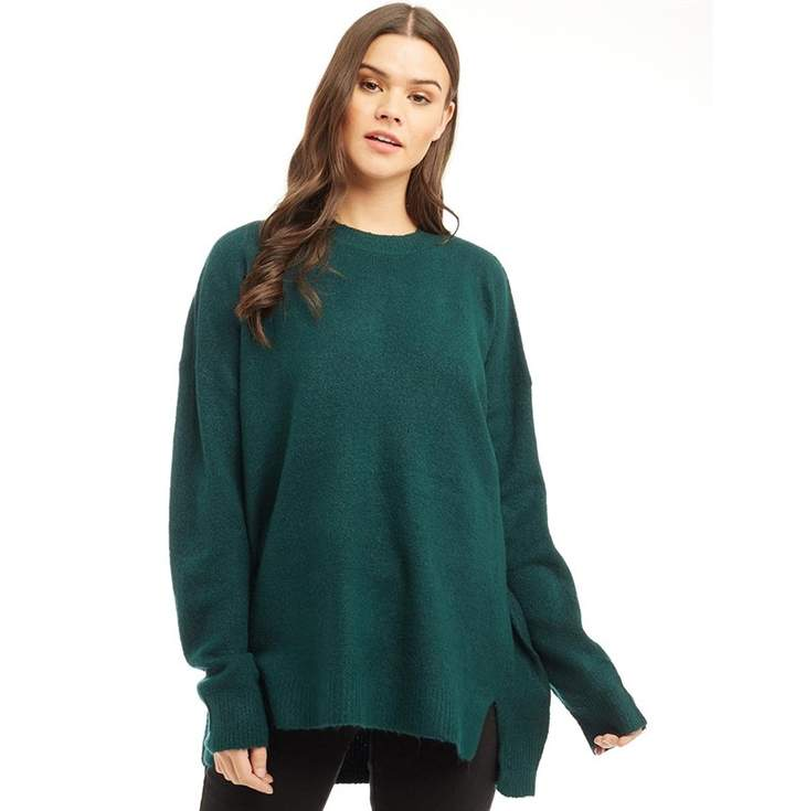 6cfc315515a Womens Mosson Loose Fit Split Front Jumper Forest Green