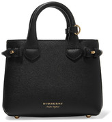 Burberry Textured-leather And Checked Canvas Tote - Black