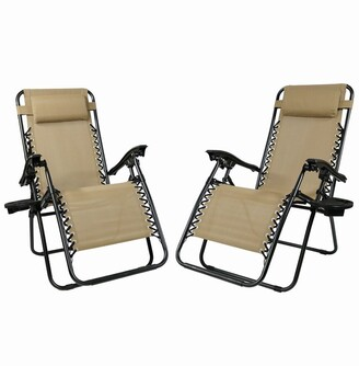 Sunnydaze Zero Gravity Lounge Lawn Chairs And Cup Holder